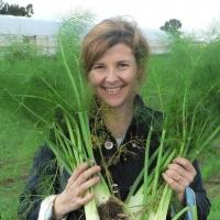 Marjorie on an organic farm