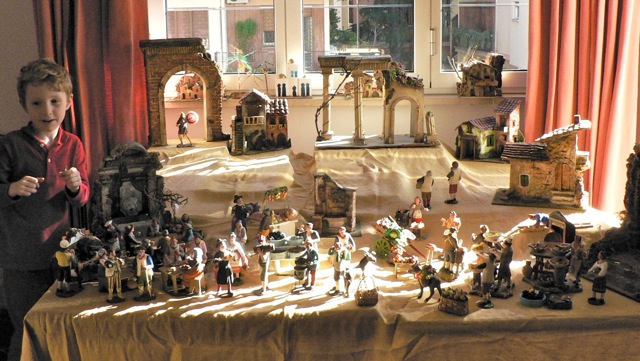 A few year ago, Nathan and the work-in-progress presepio