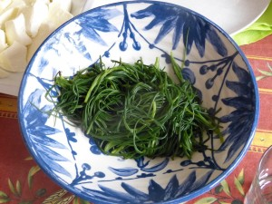 Agretti in the market
